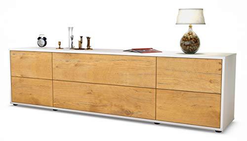 Stil.Zeit TV Schrank Lowboard Assunta, Korpus in Weiss matt/Front im Holz-Design Eiche (180x49x35cm), mit Push-to-Open Technik und hochwertigen Leichtlaufschienen, Made in Germany