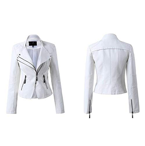 XL_nspiyi Damen Lederjacke Slim-Fit Mantel Stehkragen, M, Weiß