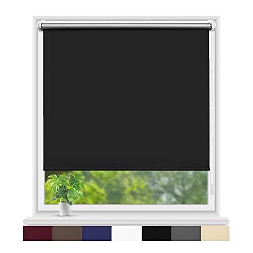 Eurohome Thermo Rollo Verdunkelungsrollo 45X160cm (Stoffbreite 41 cm) Schwarz Klemmfix ohne Bohren für Fenster und Tür