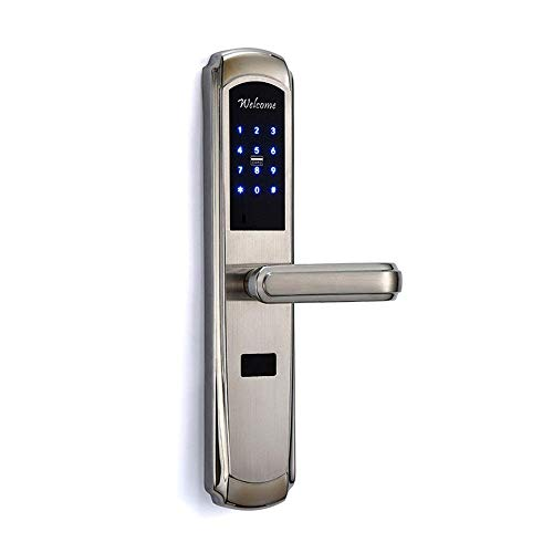 304 roestvrij staal Smart deurvergrendeling Password Swipe Inductie Lock Deadbolt, aluminium, zilver, One Size LMMS (Color : Silver, Size : One Size)