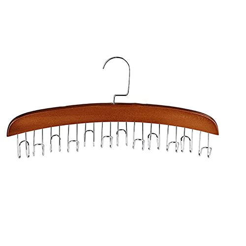 wkd-thvb Wooden Scarf Display Shelf Belts Hnager Stainless Steel 6-Hole Clothing Pants Hanger Closet Organizer Magic Clothes Rack retro color