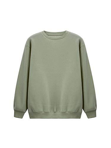 Floerns Women's Drop Shoulder Crew Neck Long Sleeve Pullover Sweatshirt Army Green M