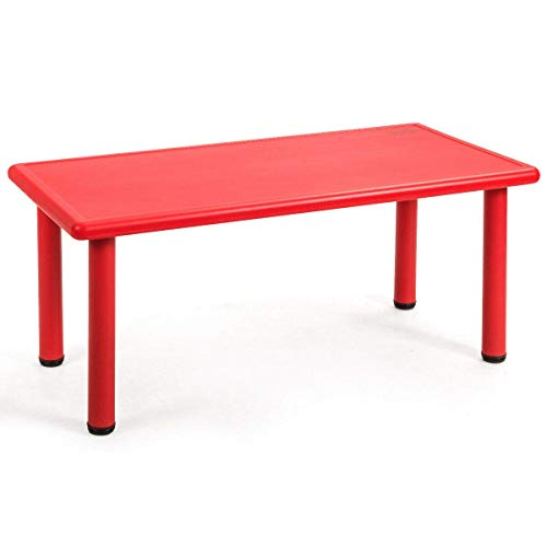 Costzon 47 x 23.5 Inch Rectangular Kids Table, Children School Activity Table for Reading Drawing Dining Playing, Multifunctional Plastic Table w/Steel Pipe, Toddler Furniture for Boys & Girls (Red)