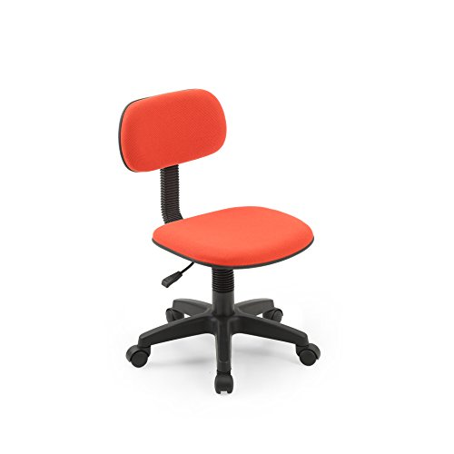 Hodedah Armless LowBack Adjustable Height Swiveling Task Chair with Padded Back and Seat in Red