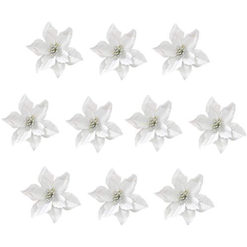 STOBOK 13cm Glitzer Kunstblumen Christbaumschmuck Weihnachts Hochzeits Dekoration Blumen Silber 24 Stück