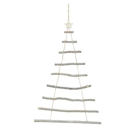 Pureday Weihnachtsdeko - Wandobjekt Weihnachtsbaum - Holz - Natur - Höhe ca. 87 cm