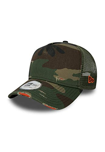 New Era NE Distressed Trucker Adjustable Cap Basic Trucker Camouflage, Size:ONE Size