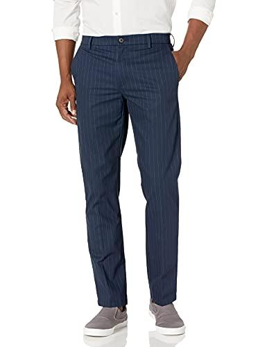 Goodthreads Slim-Fit Wrinkle Free Dress Chino Pants, Rayas Azul Marino, 36W x 32L