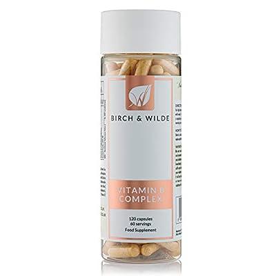 Birch & Wilde Vitamin B Complex with Vitamin C (120 Capsules / 4-Month Supply) — High-Strength, All B-Vitamins (Non-Synthetic), Vegan, Bioactive w/Inositol, Choline PBA, Folate, Methylcobalamin