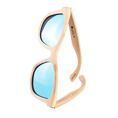 WOLA Bambus Holzsonnenbrille SURF Sonnenbrille Holz Herren und Damen blau verspiegelt