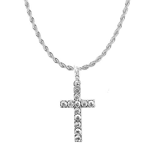 HH Bling Empire Mens Iced Out Hip Hop Silver Gold Artificial Diamond Ankh Cross Pendant cz Tennis Chain Necklace 22 Inch (Cross C -Silver, with Rope)