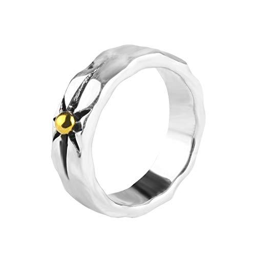 Rock&Ride 925 Silver Finger Rings Free Wide Circle Starburst Ring Yellow