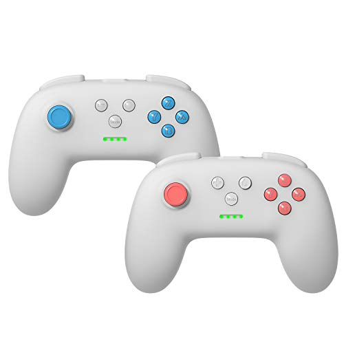 Kinvoca Wireless Switch Pro Controller for Nintendo Switch/Switch Lite, Ergonomic Joycon Pad, Joy Con Remote with Soft Touch and Non-Slip Design, Light Gray, 2 Pack