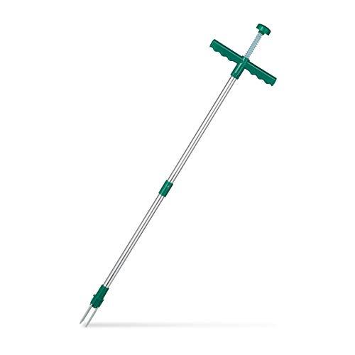 Relaxdays, grün Unkrautstecher, Löwenzahnstecher mit Stahlkrallen & Auswerfer, Entfernen von Unkraut ohne Bücken, 100cm