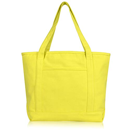 DALIX 20' Solid Color Cotton Canvas Shopping Tote Bag in Yellow