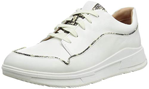 Fitflop Freya Lace UP Low Top Sneaker-Exotic Piping, Zapatillas Mujer, Urban White Mix, 38 EU