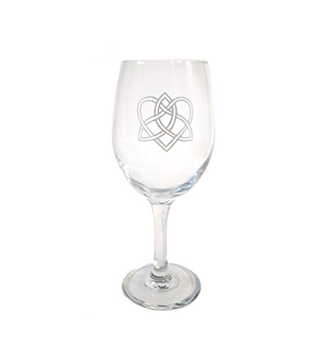 Celtic Love Knot Clear Wine Glass - Free Personalized Engraving