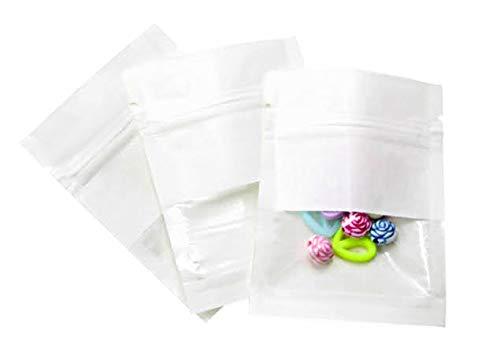 クラフト紙 ジップ袋 窓付き 平底 食品保存 ジップロック ヒートシール コーヒー豆 保存 ギフト袋 包装バッグ 保管袋 Atmu (7×9, ホワイト, 100)