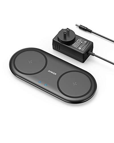 Anker PowerWave 10 Dual Pad ワイヤレス充電器 ACアダプタ付属 Qi認証 iPhone 12 / 12 Pro Galaxy 各種対応 最大10W出力 (ブラック)
