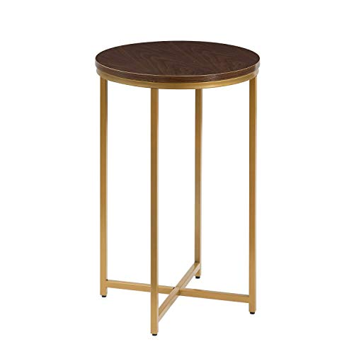ASPECT Regis X Base Side Table (Walnut/Gold, Metal, 40 diax61(H) cm