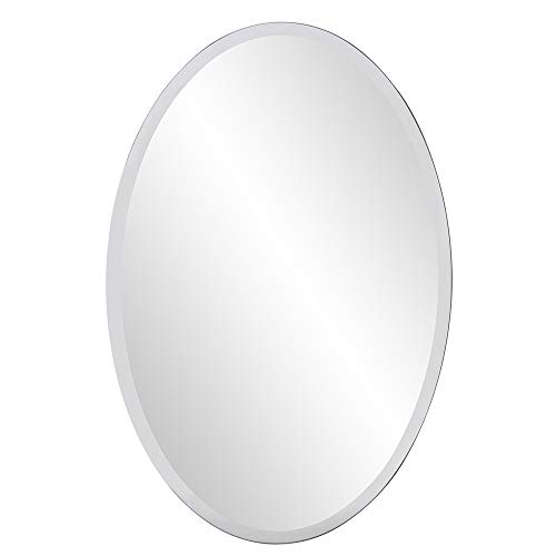 Howard Elliott Frameless Hanging Wall Mirror, Oval (24 x 36 Inch), Silver...