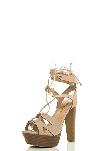 Breckelle's Womens Peep Toe Leg Wrap Lace Up Thick High Heel Pump Sandal Shoes 9 Beige