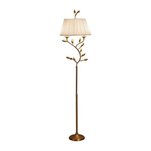 NQW Lámpara de Pie LED Luz de Lectura para Salón y Dormitorio y Estudio Piso RegulableLámpara de pie cálida y romántica de Cobre Dorado con Hoja de Jade
