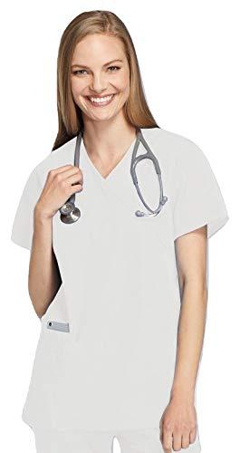 Smart Uniform 1224 Mock Wrap Top (S, Weiß [White] 1)