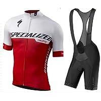 WOLFIRE WF Traje de Ciclismo para Hombre de Equipos. Culotte y Maillot. con 5D Gel Pad. para MTB, Spinning, Bicicleta de Carretera (S Rojo, 2XL)