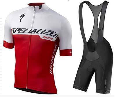 WOLFIRE WF Traje de Ciclismo para Hombre de Equipos. Culotte y Maillot. con 5D Gel Pad. para MTB, Spinning, Bicicleta de Carretera (S Rojo, L)