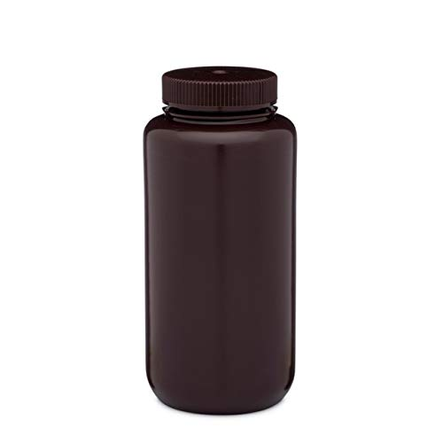 32oz /1000ml HDPE Wide Mouth Amber Leak proof Lab Sample storage reagent Bottle (Pack of 6)