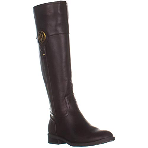 Tommy Hilfiger Womens Ilia4 Leather Closed Toe Knee High, Dark Brown, Size 6.0