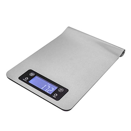 PTBCMY digital kitchen scale, small electronic multifunctional scale, food scale for kitchen ingredients, gram and ounce weight, 1g/0.1oz precision scale, with precise LCD display, hook design, silver