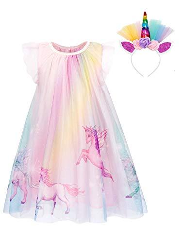 Fleur Filles Licorne Robe Tutu Princesse Filles Fête D/'Anniversaire Robe bandeau ZG