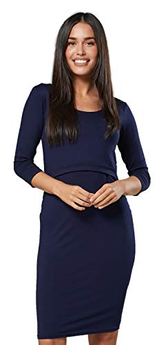HAPPY MAMA Donna Maternity Abito Maniche 3/4 prémaman Vestito Aderente 1157 (Marina, IT 40/42, S)