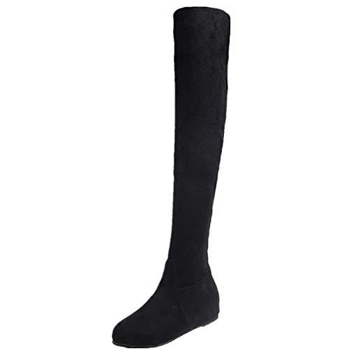 BHYDRY Schuhe Damen Stiefel Overknees Mit Flache Schuhe Winter Schuhe Slip-On Runder Zeh Hohe Stiefel Martin Stiefel(41 EU,Schwarz)