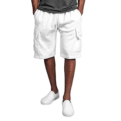 2021 Pantalones de deporte para hombre, pantalones cargo para correr, modernos pantalones de verano, informales, con cordón, ideal como regalo para familia y amigos con bolsillos, Blanco, XXL