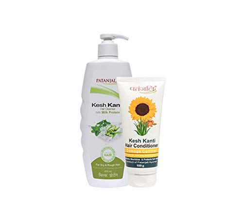 Patanjali KESH KANTI MILK PROTEIN HAIR CLEANSER PLUS CONDITIONER DAMAGE CONTROL, 550ml Natural Herbal