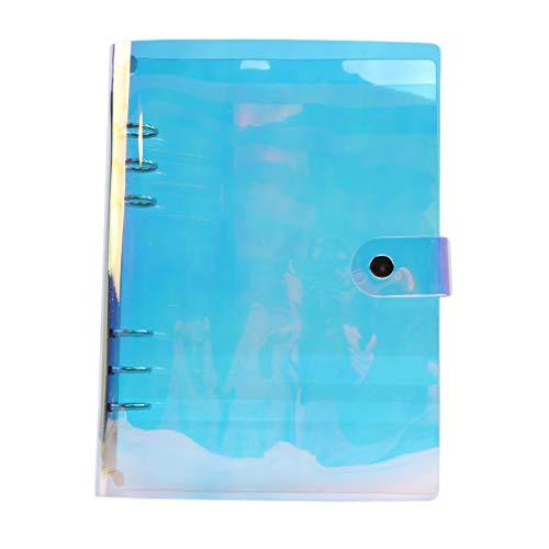 LJSLYJ Regenbogen transparent Tagebuch Abdeckung Notebook Glitter Blatt lose Notizbuch Planer Clip Bürobedarf, A5