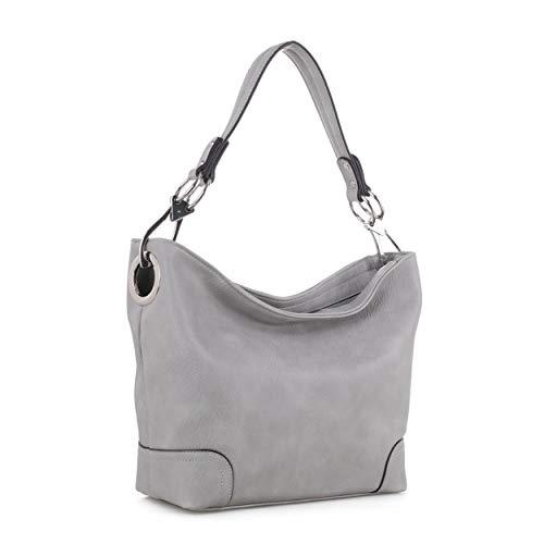 Mia K Collection Hobo Bag for Women - PU Leather Handbag - Womens Shoulder Bag Top Handle Fashion Pocketbook Purse Grey