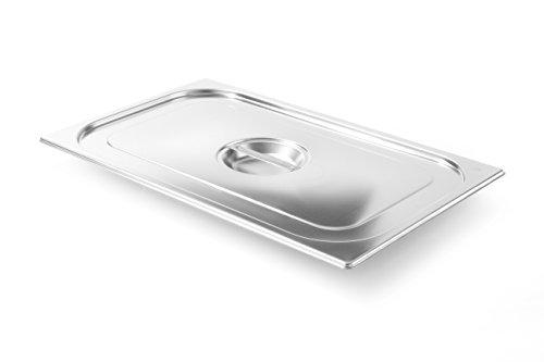 HENDI Gastronorm Deckel, für Gastronormbehälter, Temperaturbeständig von -40° bis 300°C, Heissluftöfen-Kühl- und Tiefkühlschränken-Chafing Dishes-Bain Marie, Stapelbar, GN 1/1, 530x325 mm, Edelstahl