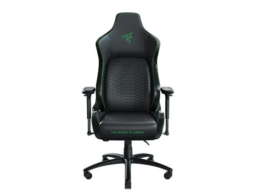 Razer Iskur XL - Chaise de jeu Premium avec support lombaire (chaise de bureau, cuir synthétique, rembourrage en mousse, coussin pour la tête) Taille XL - Noir & Vert