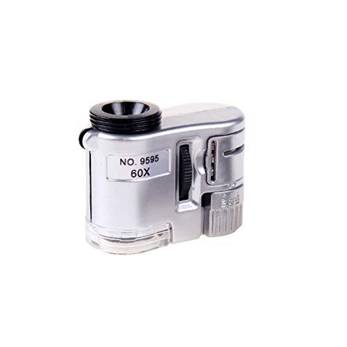 Mnjin Vidrio portátil de 60 Veces, microscopio para teléfono móvil con identificación de luz Sello de joyería Impresión de Moneda Lupa portátil Antigua