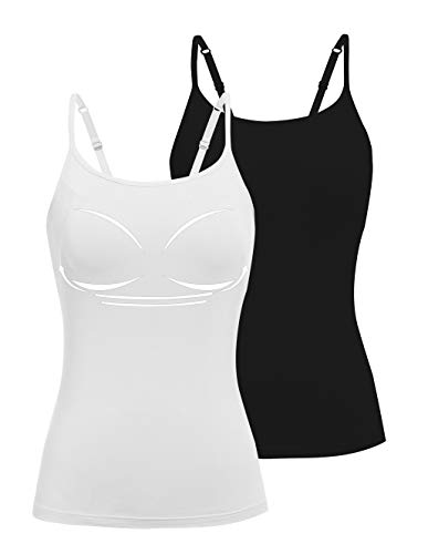 STARBILD 2er Pack Damen Unterhemd mit unsichtbarer gepolsterter BH Ohne Bügel Verstellbarem Spaghettiträger Komfortable Gepolsterte Unterhemd, Schwarz&Weiß L