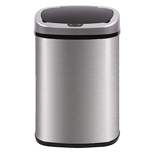 Kitchen Trash Can for Bathroom Bedroom Home Office 13 Gallon 50 Liter Automatic Touch Free High-Capacity Garbage Can with Lid Brushed Stainless Steel Waste Bin