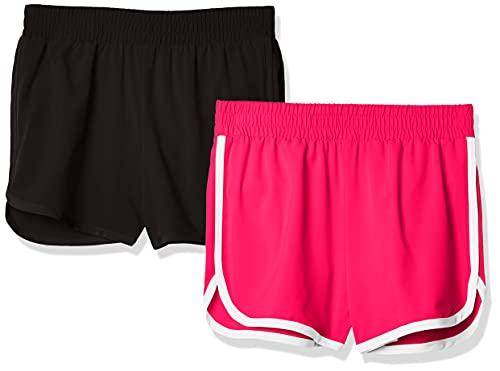 Amazon Essentials - Pack de 2 pantalones cortos deportivos para correr de niña, Negro/Frambuesa, US 2T (EU 92-98)
