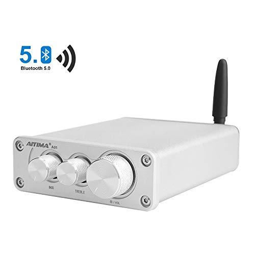 AIYIMA TPA3116 - Amplificador de Audio Digital (Bluetooth 5.0, Canal Doble, Clase D, Amplificador Integrado, 2.0CH para Altavoces domésticos 50Wx 2, con Treble y Control de Bajos)