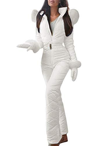 Minetom Combinaison de Ski Femme, Femme Hiver Chaud Combinaison Neige Extérieur Sports Pantalon Ski Suit Imperméable Combinaison pour Ski, Sports, Cadeau Blanc 38