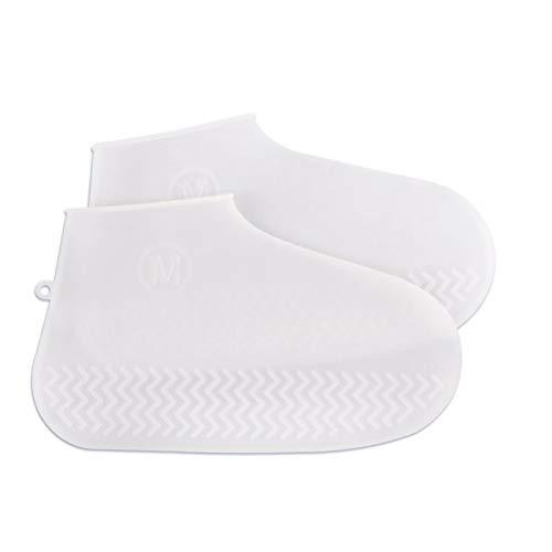 Hemoton 1 par de protectores de zapatos impermeables de silicona para exteriores, tamaño M, color blanco