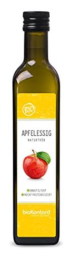 Apfelessig naturtrüb BIO 500 ml I rein, unverarbeitet, unpasteurisiert I Apfelessig ungefiltert mit natürlicher Essigmutter von bioKontor